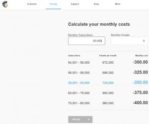 MailChimp prices - screenshot