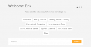 Choosing categories when registering at Beenar - screenshot