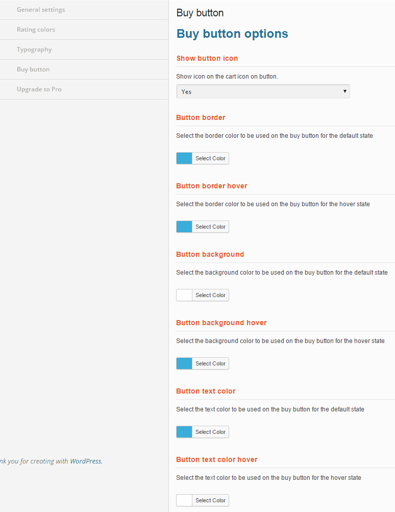 Buy button options at WP Product Review plugin - screenshot