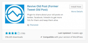 Revive Old Post plugin WP installing screenshot