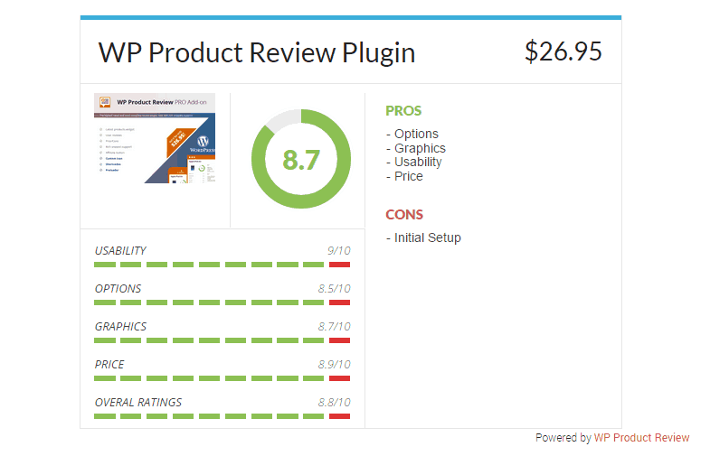 WP Product Review widget example