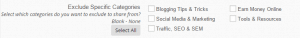 categories option at revive old post plugin - sctreenshot