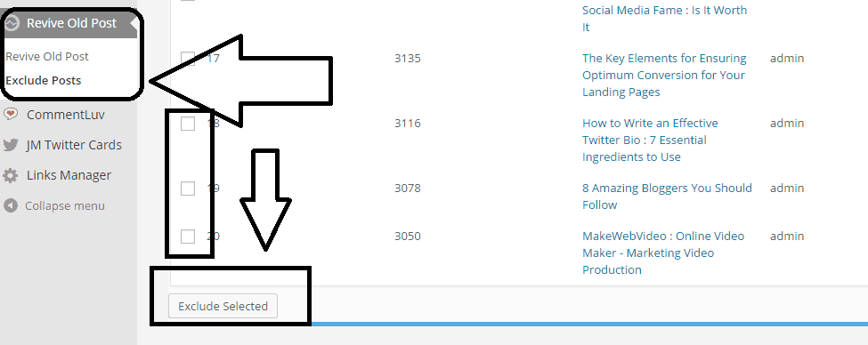 exclude posts option at revive old post plugin - screenshot