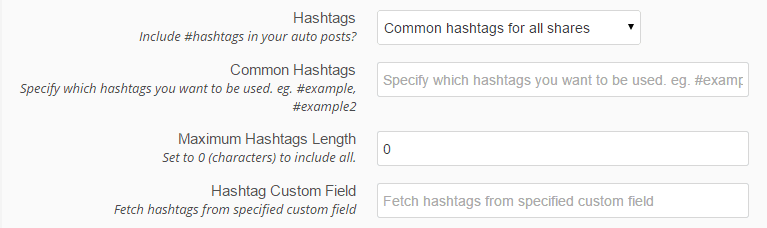 hashtags options at revive old post plugin - screenshot