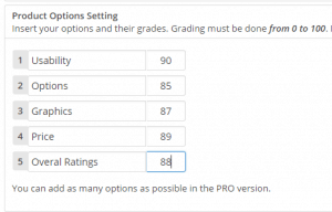 product options settings with WP product review plugin