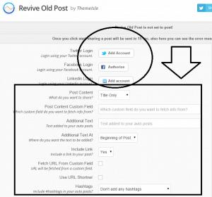 revive old post settings - screenshot of the plugin