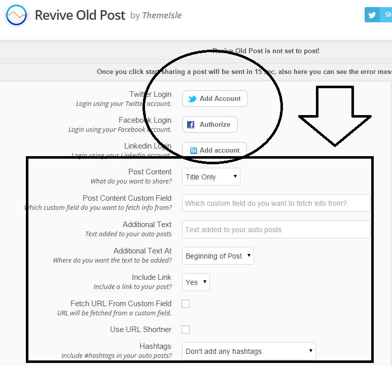 revive old post settings - screenshot of the plugin