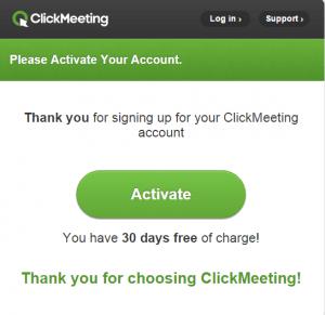 ClickWebinar account activation email