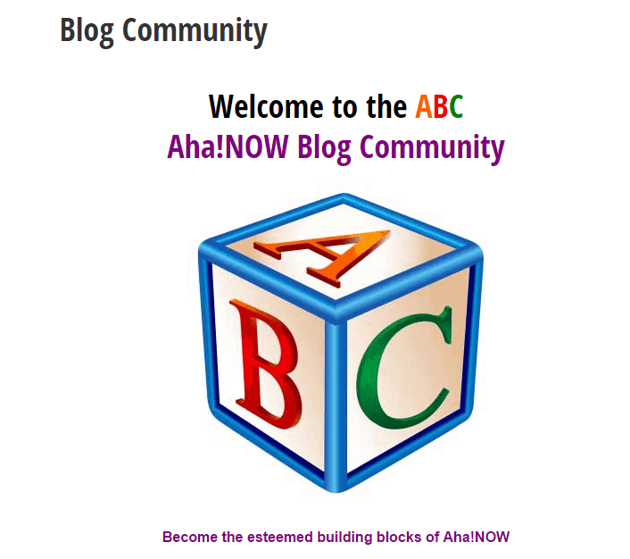 Aha_Now Blog Community screenshot