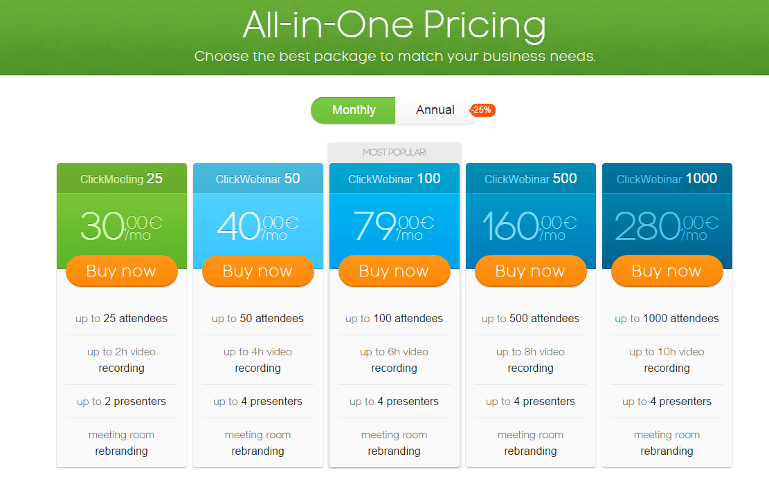 Screenshot for ClickWebinar pricing