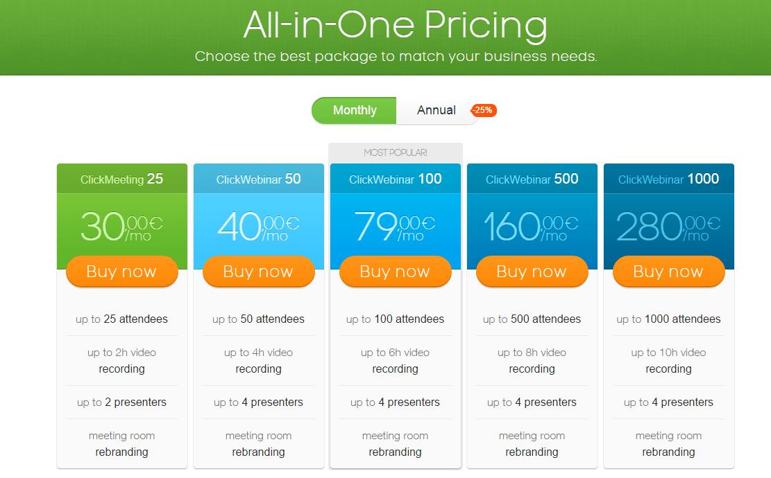 Screenshot for ClickWebinar pricing