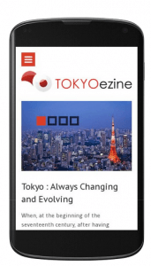 Screenshot for TOKYOezine layout on mobile phone