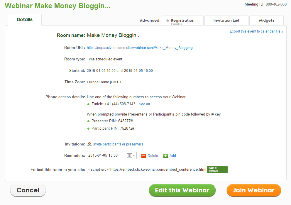 "Screenshot for Webinar ""Make Money Blogging"" testing with ClickWebinar"