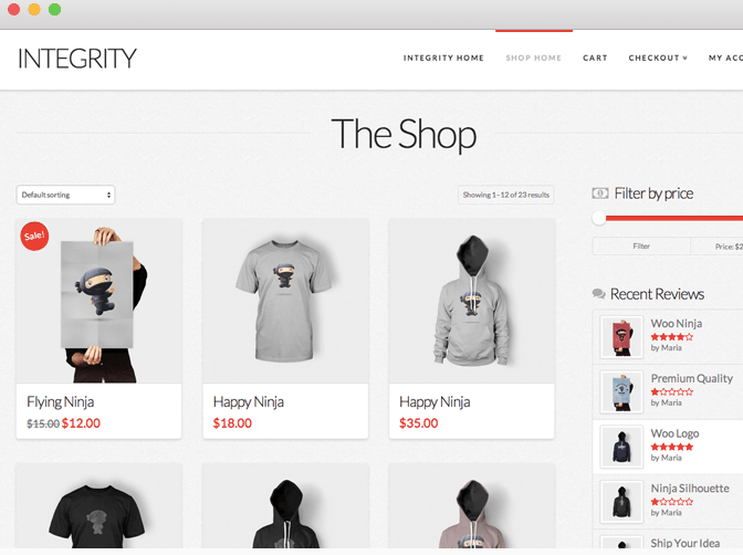ecommerce feature with integrity stack within X Theme