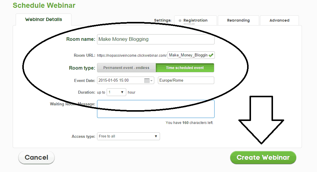Screenshot of the first step to schedule a webinar via ClickWebinar