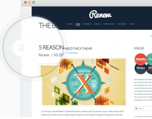 flat blog design with Renew stack of X Theme