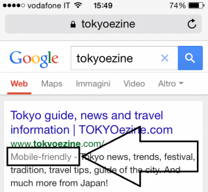 Screenshot of google search result on mobile for TOKYOezine