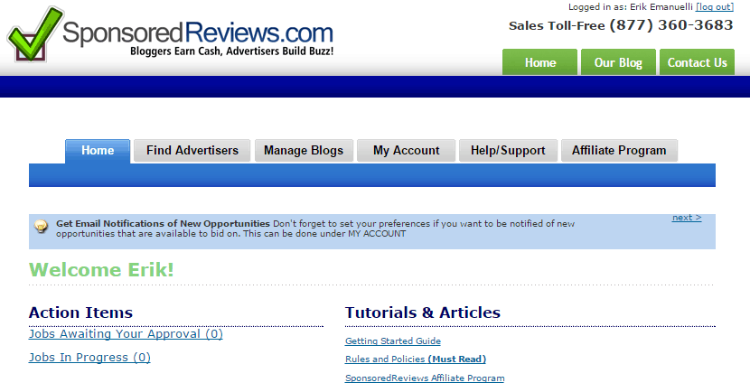 SponsoredReviews homepage screenshot