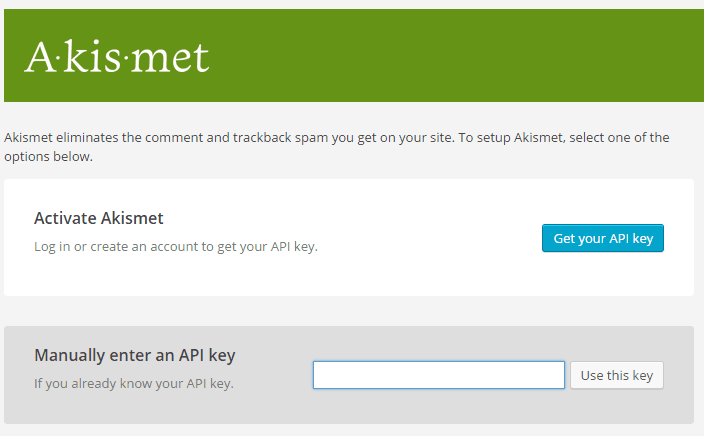 Akismet activation screenshot