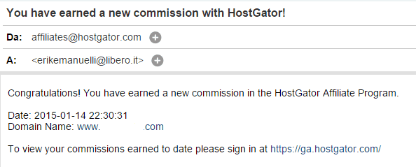 Screenshot of email informing to have earned a new commission with HostGator