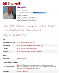 Erik Emanuelli profile at A_ha Now Blog community - screenshot
