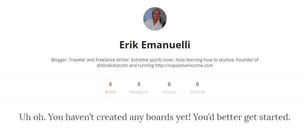 Erik Emanuelli profile at Learnist - screenshot