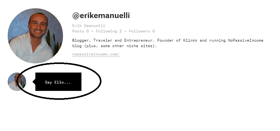 Screenshot of Erik Emanuelli profile on Ello