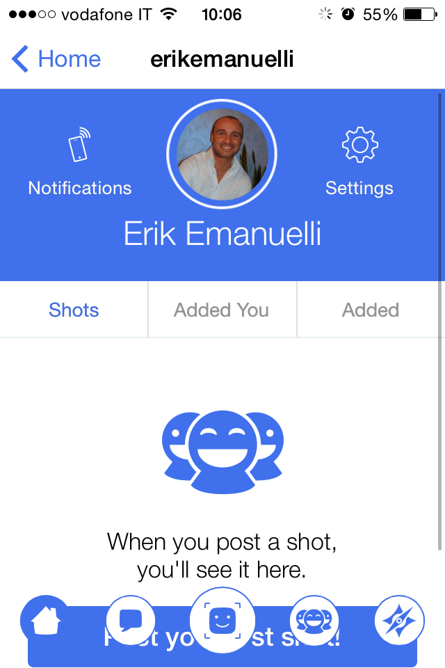 Screenshot of Erik Emanuelli profile on Shots