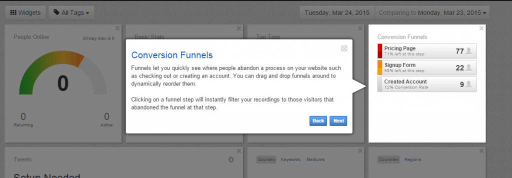 Screenshot of guided tour at Luckyorange.com - Conversion Funnel feature
