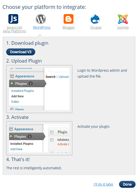 Infolinks WordPress integration - screenshot