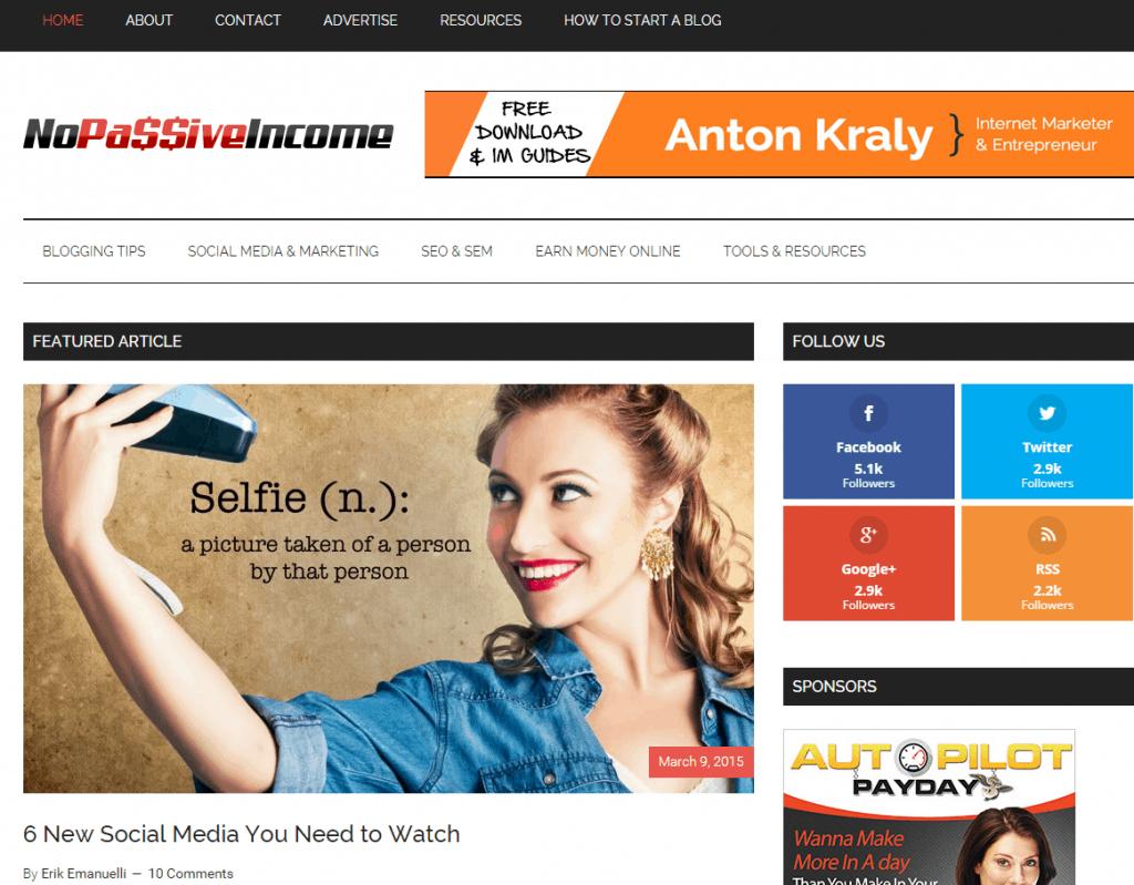 NoPassiveIncome blog screenshot at March 10th, 2015