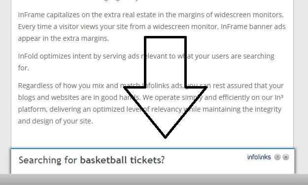 infolinks infold ad disappeared - screenshot