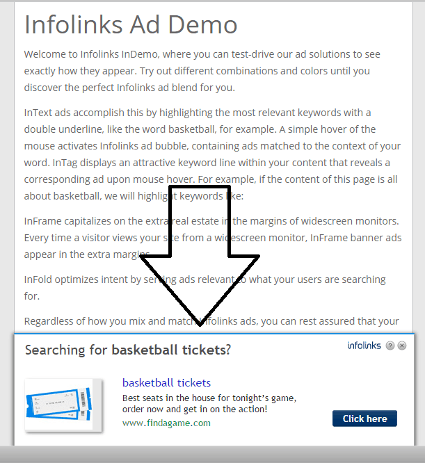 infolinks infold ad screenshot example
