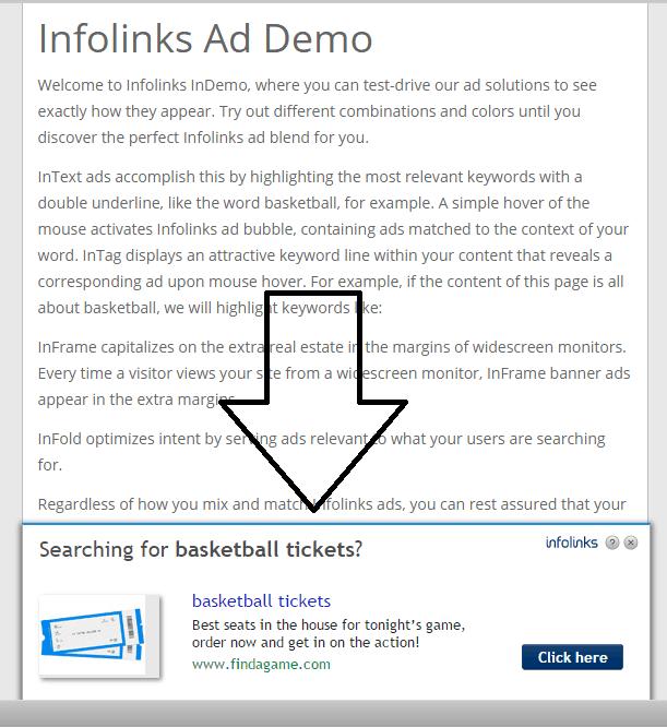 infolinks infold ad screenshot example