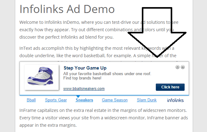 intag infolinks ad showing up - screenshot example