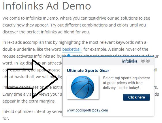 intext ads appearing - screenshot