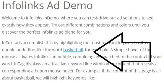 infolinks intext ads - screenshot
