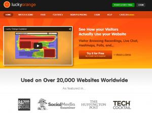 luckyorange homepage screenshot