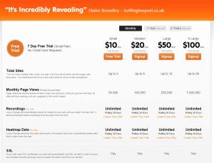 luckyorange pricing screenshot