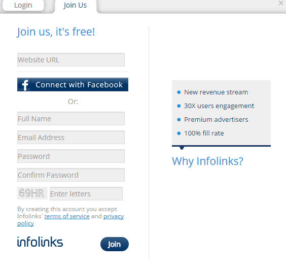 registration form at Infolinks - screenshot