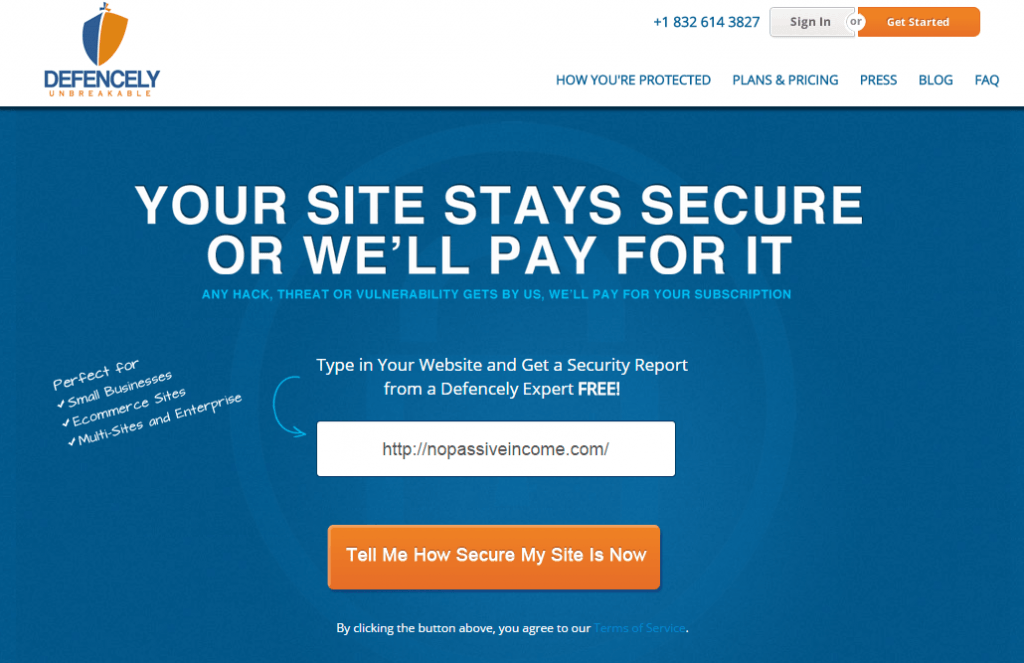 Defencely homepage screenshot