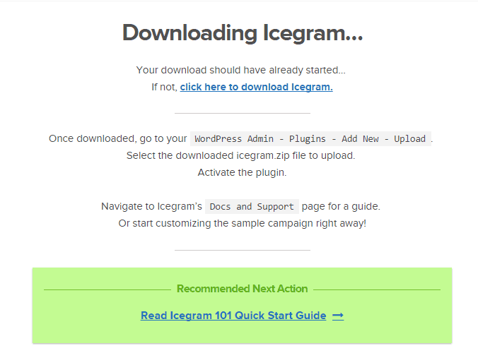 Screenshot of downloading icegram WP plugin