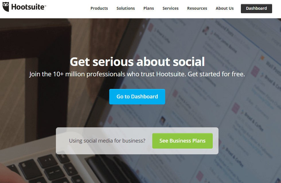 HootSuite homepage screenshot