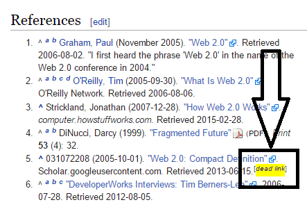 dead link example on Wikipedia
