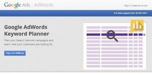Screenshot for registration page at Google Keyword Planner