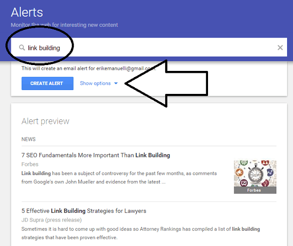 screenshot example of creating alerts with Google Alerts