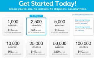 GetResponse pricing screenshot