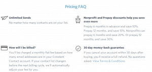 """Pricing Faq"" screenshot at ConstantContact homepage"