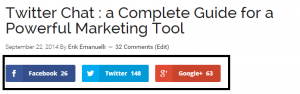 Social sharing buttons at Twitter chat post at NoPassiveIncome blog