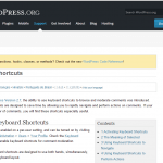 Keyboard shortcuts at Wordpress_org - screenshot of Wordpress.org